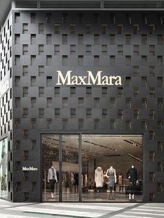 Duccio Grassi Architects designs Max Mara flagship store in Chengdu, on Renmin South road. Retail Facade, Shop Facade, Building Facade, Classic House Exterior, Modern Exterior, Signage Design, Facade Design, Max Mara, Chengdu