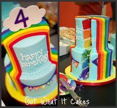 Outside and inside Rainbow Cake