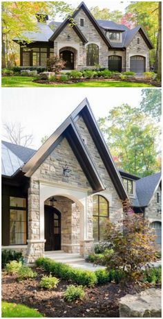 Beautiful home by David Small Designs. I love the exterior of this house, but would definitely want a more traditional interior . Style At Home, Future House, My House, Stone Houses, Houses With Stone Exterior, Black Trim Exterior House, Home Exteriors, House Exterior Design, Brick Houses