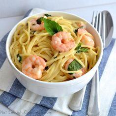 Basil Shrimp Creamy Pasta - NotEnoughCinnamon.com