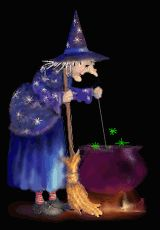 Animated gif of a witch trying out a new recipe for her on-line customers to help build her brand identity on the WWW