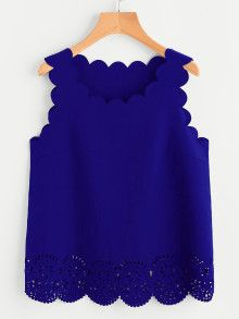 Online shopping for Scallop Edge Laser Cut Shell Top from a great selection of women's fashion clothing & more at MakeMeChic. Look Fashion, Fashion Clothes, Fashion Outfits, Fashion Black, Fashion Ideas, Women's Fashion, Red Long Sleeve Tops, Shell Tops, Pink Tops