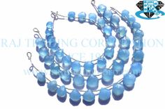 Blue Chalcedony Faceted Heart (Quality B) Shape: Heart Faceted Length: 18 cm Weight Approx: 14 to 16 Grms. Size Approx: 9 to 12 mm Price $9.12 Each Strand