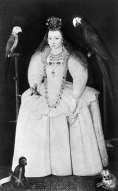 A charming portrait of Arbella Stuart with her many pets. Arbella was Bess, Countess of Shrewsbury's grandchild and ward. Bess hoped that Queen Elizabeth I would name her Stuart/Tudor relation Arbella as her successor.
