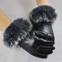 Guantes de cuero de Invierno Otoño conejo caliente guantes de la piel de las mujeres de piel de oveja manoplas para caer y FreeShipping