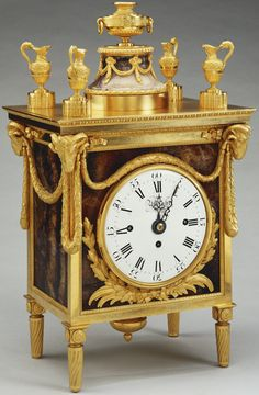 Mantel clock made for George III | Blue john case with gilt bronze mounts and an enamel dial with blued steel pierced hands by Matthew Boulton (1728-1809) and Wright's eight day striking movement, 1771.