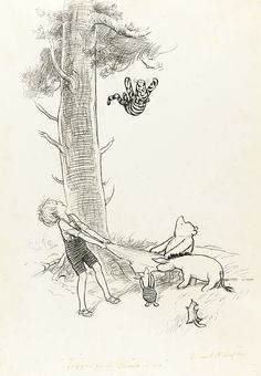 Illustration by Ernest Shepard. Eh Shepard, Winnie The Pooh Drawing, Winnie The Pooh Friends, Pooh Bear, Children's Book Illustration, Ink Illustrations, Disney Art, Childrens Books, Illustrators