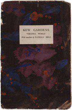 "couverture de livre peinte : Roger Fry, 1919, ""Kew gardens"" de Virginia Woolf, Hogarth press, taches, violet sombre, Bloomsbury, 1910s"
