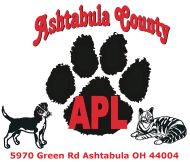 Ashtabula APL, Ashtabula Ohio.  This is where we adopted Angel, our Samoyed Golden Retriever.  She was in a hoarding case with over 40 other very sick dogs.  She herself was extremely sick.  This shelter does great work and also advocates for Pit Bulls!