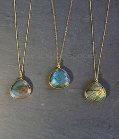 Labradorite Necklace // Gold Labradorite // by TheRockStarGoddess