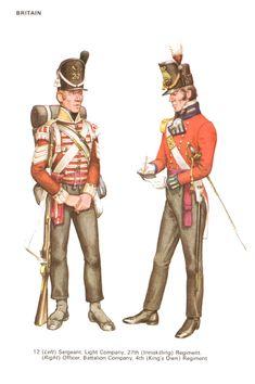 """Sergente della compagnia leggera del 27 """"rgt. fanteria inglese """" Inniskilling"""" e ufficiale delle compagnie del centro del 4 rgt. fanteria inglese """" King's Own"""""""