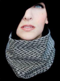 Tweed Scarf Sewn Cowl Neck warmer