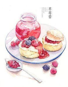 Cake Drawing, Food Drawing, Cute Food, Yummy Food, Food Illustrations, Watercolor Art, Watercolor Illustration, Dessert Illustration, Food Cartoon