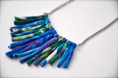 Recycled Statement Necklace - Tribal Ombre - Geometric Fringe Fabric Jewelry in Blue