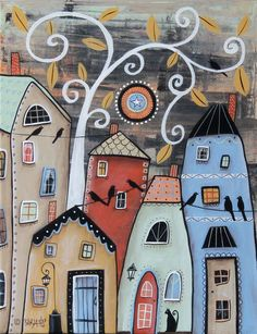 Small Town ORIGINAL 11x14 inch CANVAS PAINTING Folk Art houses tree Karla G #AbstractFolkArtPrimitive