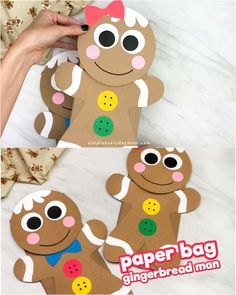 Gingerbread Man Puppet Craft These brown paper bag gingerbread puppets make fun and. Holiday Crafts For Kids, Christmas Crafts For Kids, Xmas Crafts, Christmas Diy, Crafts For The Home, Christmas Tables, Nordic Christmas, Christmas Photo Cards, Modern Christmas
