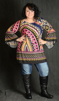 Multicolor Geometric Tunic Top - Curvy Plus Size Boutique - 2