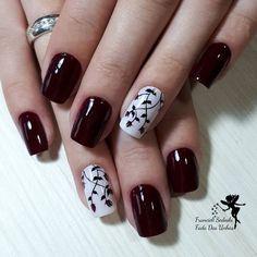 42 modelos de unhas decoradas com esmalte vermelho νύχια (nails), γιορτινό Burgundy Nails, Yellow Nails, Pink Nails, Cute Acrylic Nails, Cute Nails, Pretty Nails, May Nails, Fall Nail Art, Gel Nail Designs