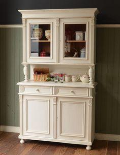 アンティークのフレンチ家具、ホワイトペイントのカップボード(食器棚)(d-981-f-1)|Handle