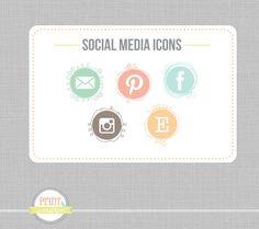 Social Media icons Social Networking icons blog  Social media- blog website buttons via Etsy.