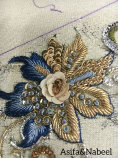 Zardosi Embroidery, Bead Embroidery Patterns, Tambour Embroidery, Hand Work Embroidery, Couture Embroidery, Silk Ribbon Embroidery, Hand Embroidery Designs, Beaded Embroidery, Tambour Beading