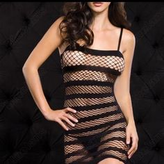 ❤️SALE❤️ fishnet nightie (A13) Black fishnet nightie with stripes...brand new fits sizes XS/S(panties NOT included) Other