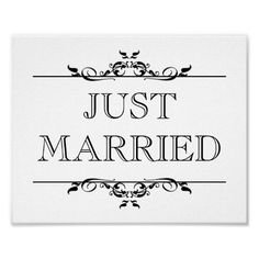 Printable Just Married Signs | Wedding photo prop sign Just Married open scroll Poster