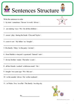 Students should write the parts of the sentences in order. subject + verb + objects +where + when+ how + why Reading and writing individual worksheet key included. English Grammar For Kids, English Phonics, English Lessons For Kids, English Worksheets For Kids, Learn English Words, French Lessons, Spanish Lessons, Teaching Spanish, Teaching Kids