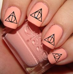 Deathly Hallows nails! http://www.etsy.com/listing/150929599/harry-potter-deathly-hallows-nail-decals