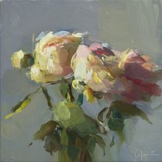 Christine Lafuente, Peony Bouquet, 2017, oil on linen, 10 x 10 inches