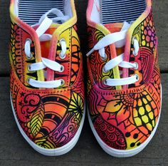 Zentangle zapatillas zapatos zapatillas por ArtworksEclectic