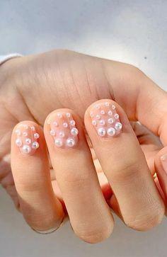 Pearl Detail Nails Hot Nails, Nude Nails, Acrylic Nails, Pastel Nails, Short Nail Designs, Nail Art Designs, Nails Design, Collection Mac, Cute Short Nails