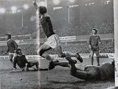 Everton v Liverpool 1971-72 at Goodison Park, David Johnson celebrating the winner