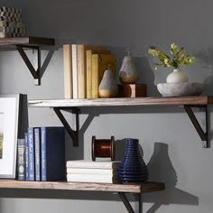 Features:  -Set includes 3 shelves.  -Material: Iron poplar.  -Color: Assorted (blue, yellow, red).  -Distressed.  -Style: Rustic and industrial.  Finish: -Natural finish wood.  Frame Material: -Metal