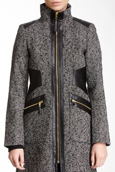Faux Leather Trim Walker Coat