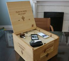 How to create a charging system out of a wine crate | eHow Home   Get all those electronics out of sight - love this!