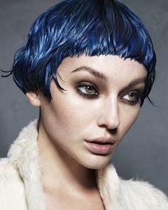 Short Blue straight hairstyles provided by Karine Jackson.