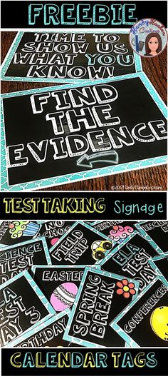 Free Motivational Test Taking Decor Signs For Your Classroom Bulletin Boards Bonus: Calendar Tags for March & April.