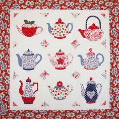 """Teapots quilt pattern, 40 x 40"""", at Out Of Hand. A ..."""