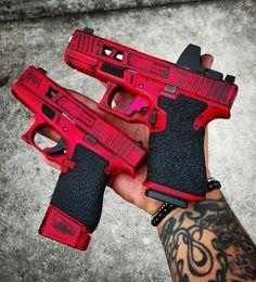 Glock 43 & Glock 19 His and hers? Ninja Weapons, Weapons Guns, Airsoft Guns, Guns And Ammo, Revolver, Rifles, Armas Ninja, Arsenal, Custom Guns