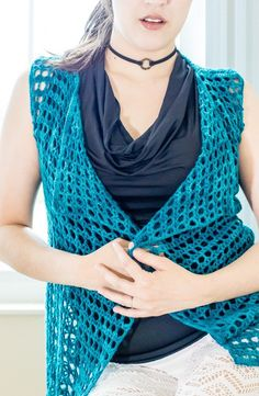 Aquamarine vest crochet pattern  The pattern includes: Written instructions, stitches chart, schematics, and video tutorial