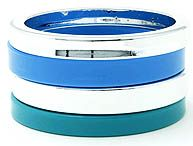 "Plastic bangle set      Total width 1.5""      set of 4    BRACELET / BEAD / BANGLE / 4 PIECES / NICKEL AND LEAD COMPLIANT.  MULTI COLOR BLUE AND SILVER STATEMENT BRACELET"