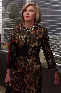 Diane's leopard print coat on The Good Wife.  Outfit Details: http://wornontv.net/37388/ #TheGoodWife