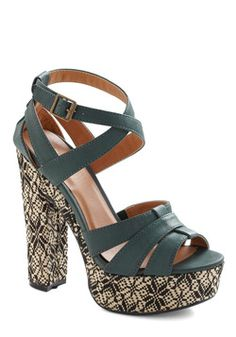 Furnish Your Feet Heel. Any graphic design guru or interior decorating diva's jaw will drop at the expert way you've enhanced the area you walk on when you wear the woven heels of these platform shoes! #green #modcloth
