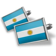 """Neonblond Cufflinks """"Argentina Flag"""" - cuff links for man NEONBLOND Cufflinks. $29.90. Unique Gift for the Modern Classic Man. Comes with our Free Velvet / Satin Bag. Standard Size is approximately 19mm x 12mm. We have more then 4000 different Cufflinks. Products are Assembled in America. Save 50% Off!"""