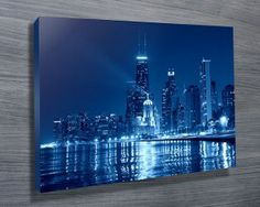 CHICAGO AT NIGHT $26.00–$741.00 This is a beautiful print of the Chicago city skyline at night, as with all of our artworks, its avaiable as standard as a stretched canvas print, archival paper print or rolled canvas.#CanvasPrintsSydney  #Photooncanvas