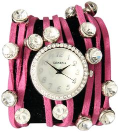 """Spaghetti Strand Designer Inspired Geneva Wrap Watch-Pink!. This """"spaghetti"""" strand wrap watch features 3 thin faux suede """"spaghetti"""" strands that wrap around the wrist forming a multi wrap band look. 20 super cute crystal colored rhinestones with silver or gold plating are spaced throughout the watch. This watch is super trendy and a must have for the 2012 year. Watch features black numbers 1-12, and 1 row of tiny white rhinestones surrounding the face. Glam up your wardrobe with this…"""