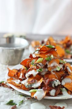 Baked Sweet Potato Chips with Blue Cheese Sauce and Bacon