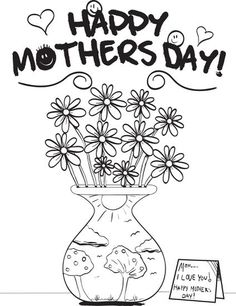 mothers day flowers coloring page 1