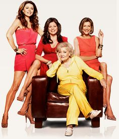 Jane Leeves, Valerie Bertinelli, Wendie Mallick, and Betty White as Joy Scroggs, Melanie Moretti, Victoria Chase, and Elka Ostrovsky